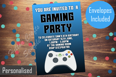 Gaming Party Invites Personalised Game Xbox Invitations Birthday X12