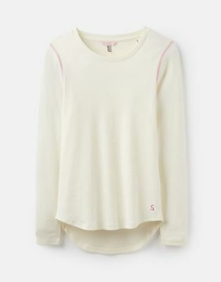 Joules 124833 Ribbed Henley Top in CREAM