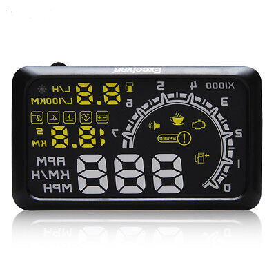 W02 Universal Car HUD Head Up Display OBDII OBD2 Speed Water Fuel Consumption