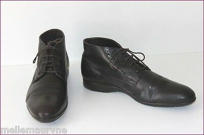 ANDRE Boots Men Brown Leather Very Dark T 41 MINT