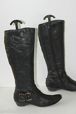 Boots KARSTON Leather Crumpled Black T 39 VERY GOOD CONDITION