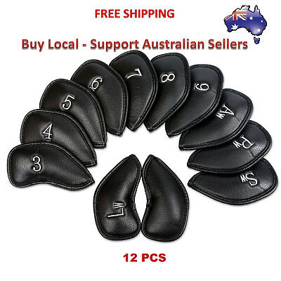 12 Pcs Golf Iron Head Covers  with Numbers PU Leather Blue Red Black Colors