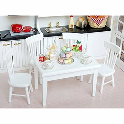 5pcs 1/12 Wooden Kitchen Dining Table Chair Set Dollhouse Furniture White