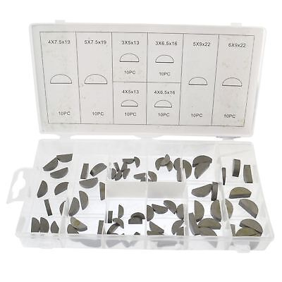 Woodruff Drive Shaft Camshaft Crank Gearbox Half Moon Key Assortment Set 80pcs