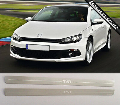 VW Scirocco TSI (Released 2008). Stainless Steel Sill Protectors / Kick Plates