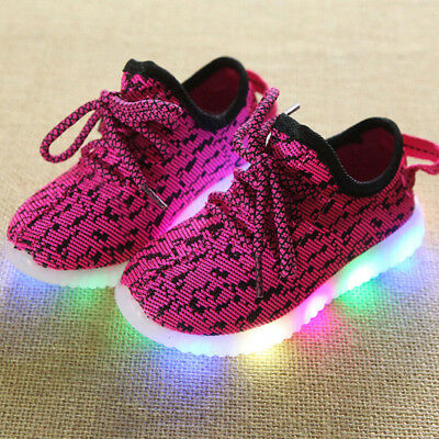 UK HOT New Kids Boys Girls Light Up Shoes LED Flashing Trainers Casual Sneakers
