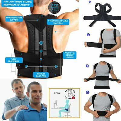 Neoprene Posture Corrector Bad Back Lumbar Shoulder Support Belt Brace Men Women