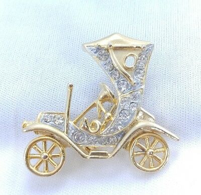 (*J) JJ Signed Jonette early 1900s Ford Model T Automobile Car Club Brooch Pin