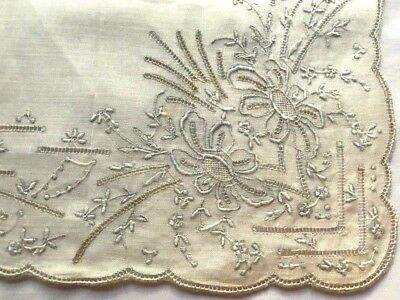 "Richly Embroidered Appenzel Fine Linen Handkerchief Drown-work Hem 11 3/4"" SQ"