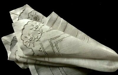 "Gorgeous Bridal Handkerchief Padded Embroidery Drownwork Double Hem 10 3/4""SQ"