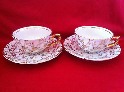 Vintage 1898 - 1970 coffee set 2 cup and 2 saucer Wolfram Wiesau Bavaria Germany