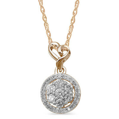 1/4 Ct Diamond 14K Rose Gold Over Silver Heart Pendant Necklace