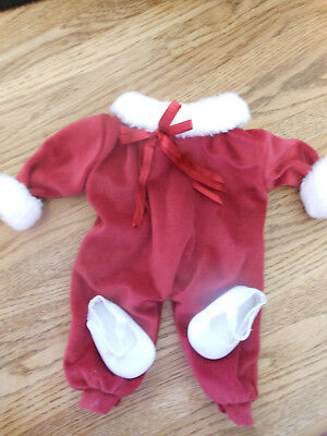 Doll Clothes - Santa Suit with white shoes for Dolls like Bitty Baby