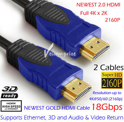 [6ft - 2 Pack] Ultra-HD (UHD) 4K HDMI 2.0 Cable [18Gbs Audio Ethernet] 3D Lead