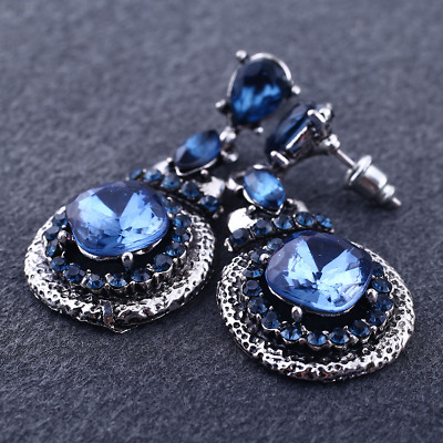 49FC Retro Elegant Women Blue Gem Crystal Rhinestone Ear Stud Dangle Earrings