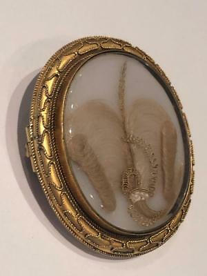 Antique Early Victorian 15Ct. Gold Double Sided Large Hair Brooch C. 1850