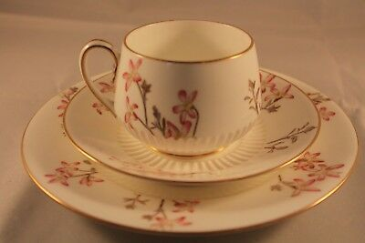 ANTIQUE GEORGE JONES & SONS CRESCENT CHINA 1886c TRIO CUP SAUCER PLATE FLORAL