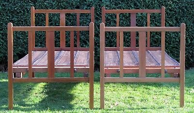 Pair of Antique Mahogany Single Beds with Original Adjustable Spring Bases