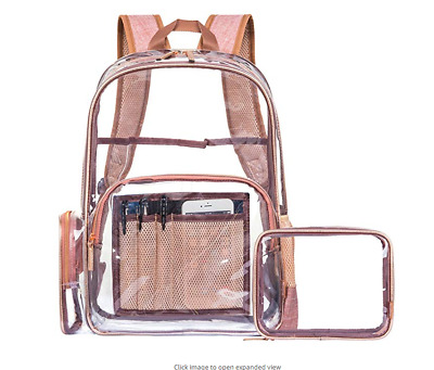 Clear Backpack with Cosmetic Bag & Case, Clear Transparent PVC School bag