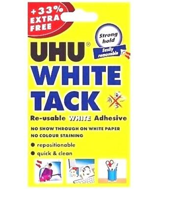 UHU WHITE TACK TAC 33% FREE Packet Re-usable White Adhesive Putty FREE UK P&P