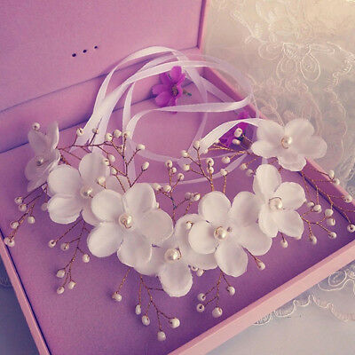 Elegant Charming Hand Made Flower Pearl Ribbon Bridal Headband Hairband Wedding