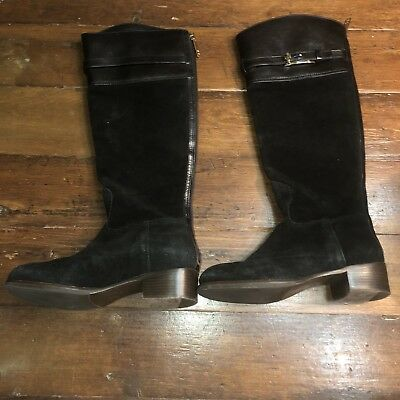 Tory Burch Jenna Riding Boots Tall Black Suede Leather Zip Fabric Lined Women 7