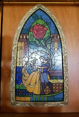 Disney Parks Beauty & The Beast Stained Glass Window Frame Art Of Disney Belle