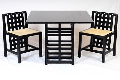 RARE Charles Rennie Mackintosh D.S.3 DINING SET Table w Basset-Lowke Chairs C.R.