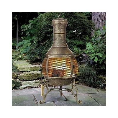 Chiminea Fireplace Outdoor Patio Fire Pit Wood Burning Heater Cast Iron Yard New