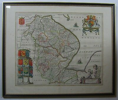 Lincolnshire: antique map by Johan Blaeu, 1645/62