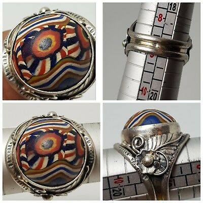 Old mosaic glass wonderfull pure silver ring