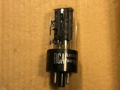 NOS 1955 RCA 5Y3GT Rectifier Tube Tests Strong Balanced Black Plate Guitar Amp