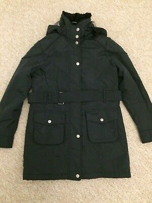 WORN ONCE Girls Fitted Washable Waterproof Black BARBOUR COAT winter Age 10/11