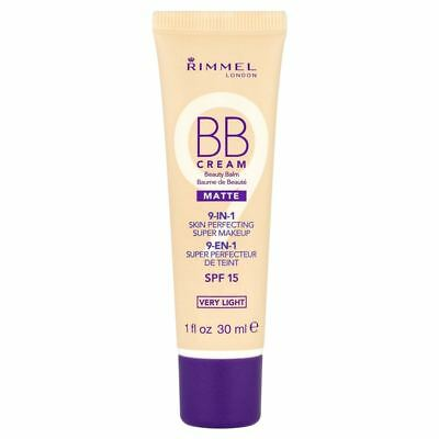 Rimmel BB Cream 9-in-1 Perfecting Super Makeup Matte Very Light SPF15 New