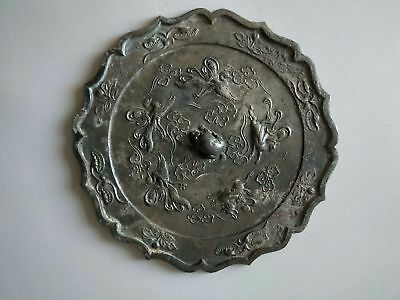 China Ancient Tang Dynasty Bronze Mirror Beautiful Crane Beast Statue Pattern