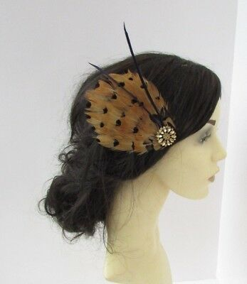 Navy Blue Mustard Yellow Brown Gold Pheasant Feather Fascinator Hair Clip 6556