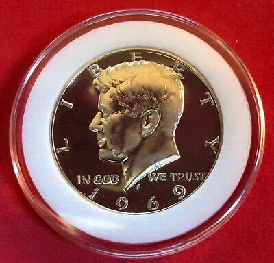 1969 S Kennedy Half Dollar From Proof Set 40% Silver Gem Proof In Coin Capsule!