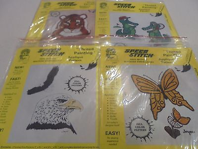 Speed Stitch Free Motion Machine Embroidery Applique Pattern templates x 4