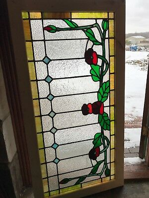 SG 2650 antique stained and textured glass transom window floral 27 x 53