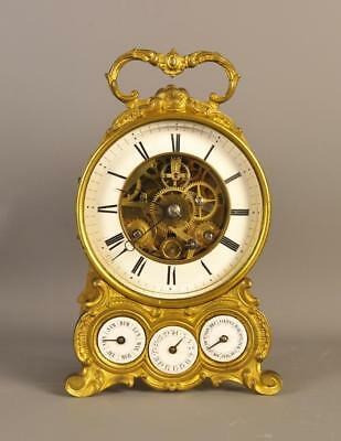 CALENDAR CARRIAGE MANTLE CLOCK WITH ALARM - Very rare