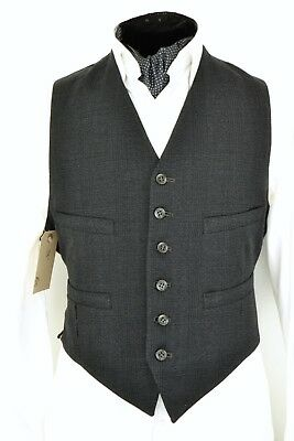 """Size 38"""" 1950s Men's Waistcoat Wool Front Vintage Grey Prince of Wales Check"""