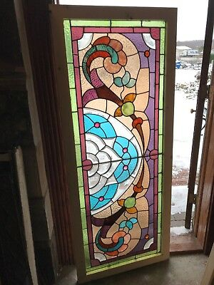 Sg 2653 antique stain jeweled beveled transom window 26.25 x 64.75