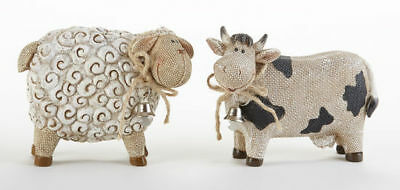 NEW!!! Primitive Vintage Style Country Farmhouse Resin COW & SHEEP Figurines