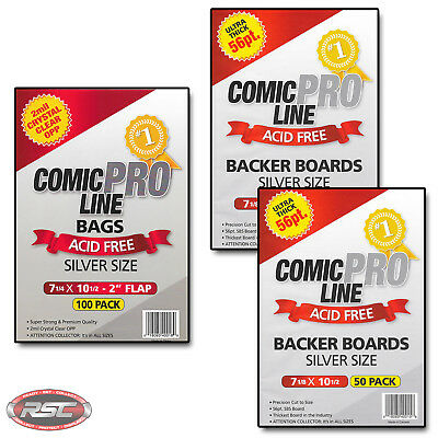 100 - Comic Pro Line SILVER 56pt Backer Boards & 2-Mil SILVER Acid-Free Bags!