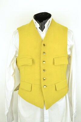 """Size 40"""" 1950s Harry Hall Men's Waistcoat Wool Front Yellow Gold Brass Vintage"""