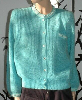 SCRATCH maglia cardigan donna vintage mohair turchese decorato perle