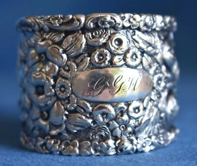 Antique THE BALTIMORE STERLING SILVER COMPANY Stieff Repousse Rose Napkin Ring