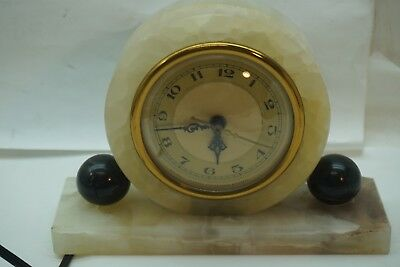 Vintage Hammond Clock Art Deco Onyx Mantle Whitehall Synchronous Electric Runs