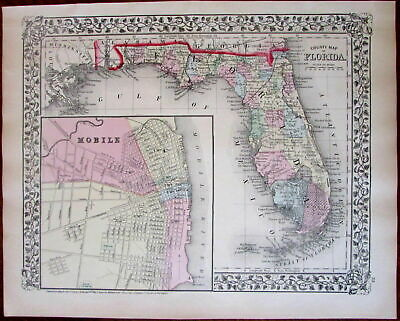 Florida state w/ large Mobile AL inset city plan 1874 S.A. Mitchell map