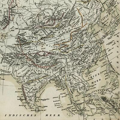 Mountains in Europe & Asia Volcanos in Java c.1850 detailed Meyer German map